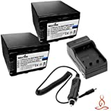 Two Halcyon 2500 MAH Lithium Ion Replacement Battery And Charger Kit For Sony DCR-SX85 16GB Flash Memory Camcorder...