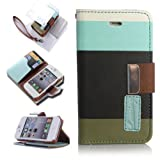 ATC Lumsing Wallet Leather Case stand with Credit ID Card slot Holder Cover Pouch For iPhone 4 4S with free screen protector- Light Blue+Coffee+Beige