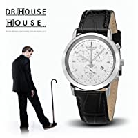 House M.D. 7168 Women's Analog Quartz Watch with Chronograph, White Dial, Black Strap from Kronsegler