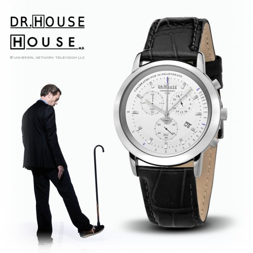 House M.D. 7168 Women's Analog Quartz Watch with Chronograph, White Dial, Black Strap