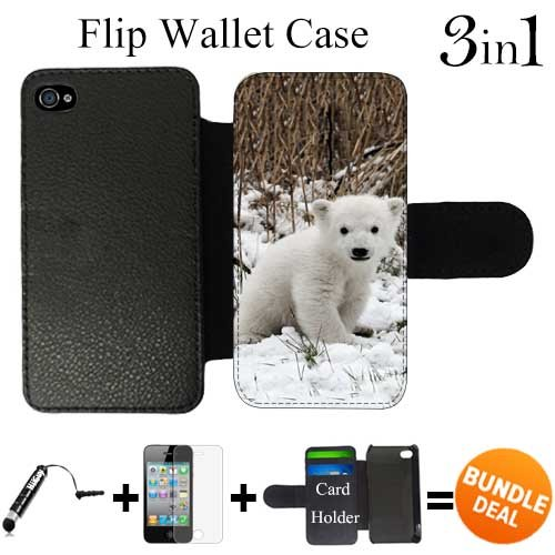 Polar Bear Animal Custom iPhone 4 Wallet Cases/4S Wallet Cases,Bundle 3in1 Comes with HD Screen Protector/Universal Stylus Pen by innosub (Iphone 4 Cases Ebay compare prices)