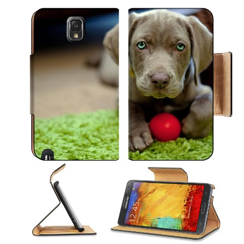 Dog Puppy Snout Ball Toy Samsung Galaxy Note 3 N9000 Flip Case Stand Magnetic Cover Open Ports Customized Made To Order Support Ready Premium Deluxe Pu Leather 5 15/16 Inch (150Mm) X 3 1/2 Inch (89Mm) X 9/16 Inch (14Mm) Liil Note Cover Professional Note 3 front-695358