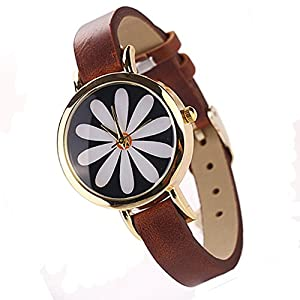 Fashion Women's Retro Flower Lovely Panda Owl Elephant Anchor Rose Gold Plated Faux Leather Vintage Wrist Watch (flower brown)