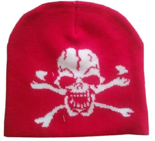 Skull - Skull And Crossbones - Red Embroidered Beanie Hat - One Size Fits Most