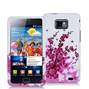 Electromaster(TM) Brand - Pink Flowers Design Crystal Hard Skin Case Cover for Samsung Galaxy S2 i9100 / Attain