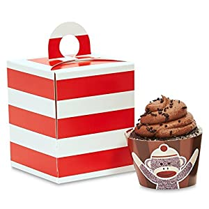 Sock Monkey Red Cupcake Wrapper & Box Kit at 'Sock Monkeys'