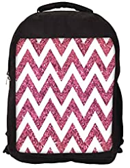 Snoogg Chevron Pinks Backpack Rucksack School Travel Unisex Casual Canvas Bag Bookbag Satchel