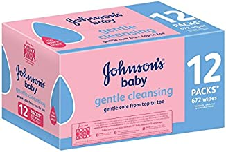 Johnson's Gentle Cleansing Baby Wipes--12 x Pack of 56 Wipes (672 Wipes)