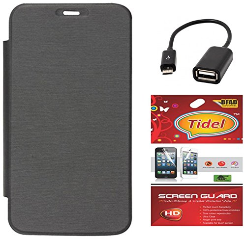 Tidel Black Premium Flip Cover For Micromax Bolt A71 With Tidel Screen Guard & Micro OTG Cable  available at amazon for Rs.249