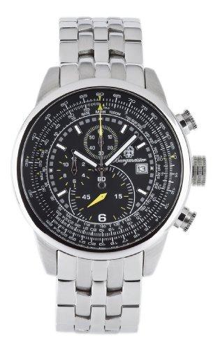 Burgmeister Melbourne BM505121 Herren Chronograph Edelstahl schwarzes Zifferblatt Datum/Tachymeter doppelte Sicherheitsfaltschließe