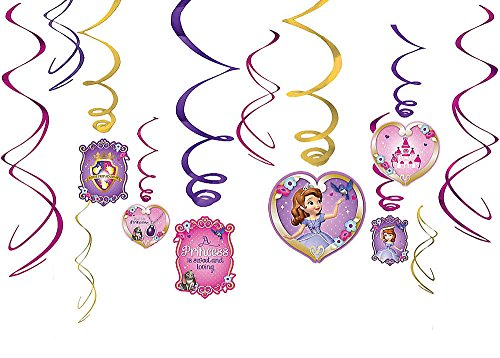 Diseny Princess Sofia the First Party Foil Hanging Swirl Decorations / Spiral Ornaments (12 PCS)- Party Supply, Party Decorations