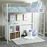 Walker Edison Twin Metal Loft Bed, White
