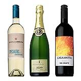 ラテン3カ国(スペイン・イタリア・チリ)周遊 赤・白・スパークリング プチ贅沢ワイン3本セット