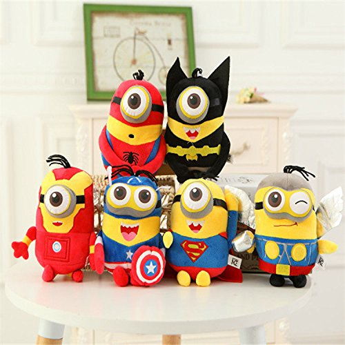 6 pcs DESPICABLE ME MINIONS PLUSH TOYS 3D EYES CUTE KIDS SOFT DOLL TOYS GIFTS Minions Cosplay The Avengers Super Hero Spiderman Superman Batman Captain America Ironman Thor Action Figure Toys