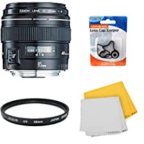 Canon EF 85mm f/1.8 USM Medium Telephoto Lens for Canon SLR Cameras w/ 58mm Multicoated UV Protective Filter, Lens Cap Keeper, Microfiber Cleaning Cloth