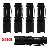 AR-happy-online® 5 Pack SK-68 3 Modes Handheld Mini Cree Q5 LED Flashlight Torch Tactical Lamp 7w 350lm Adjustable Focus Zoomable Light (White Light)