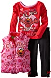 Sesame Street Little Girls' 3 Piece Elmo Vest Set