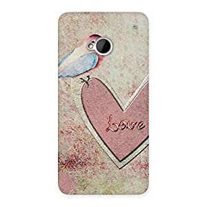 Bird On Heart Print Back Case Cover for HTC One M7