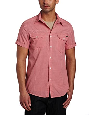 Kenneth Cole New York Men's Double Flap Pocket Woven Shirt, Bright Coral Combo, Small