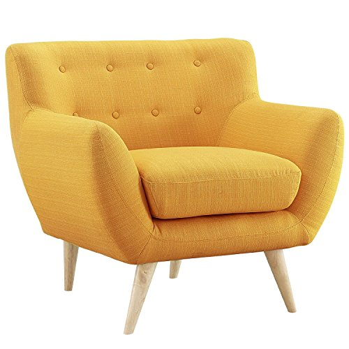 Mid Century Modern Tufted Button Living Room Accent Chair (Yellow)