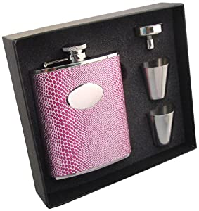 "Visol ""Viper"" Snakeskin Design Stainless Steel Hip Flask Gift Set, 6-Ounce, Pink"
