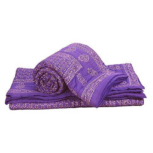 Little India con bloque de mano 2 piezas Juego de funda de edredón para cama de matrimonio algodón azul