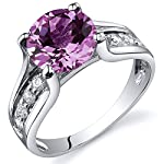 Created Pink Sapphire Solitaire Ring Sterling Silver Rhodium Nickel Finish 2.75 Carats Sizes 5 to 9