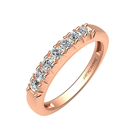 Diamond Delight Women's 18K 7 Stone Prong Set Wedding Ring (SI1-SI2, 1/4 Carat)