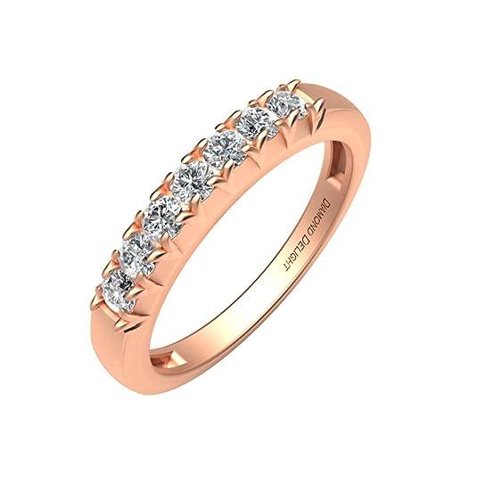 Diamond Delight Women's 18K 7 Stone Prong Set Wedding Ring (SI1-SI2, 1/4 Carat)
