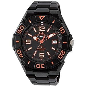 [シチズン キューアンドキュー]CITIZEN Q&Q 電波ソーラー腕時計 SOLARMATE スポーツタイプ アナログ表示 10気圧防水 オレンジ HG14-325 メンズ