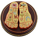 Briju Dinesh Enterprises Wooden Gold Leaf Painted Laxmi Footsteps (10.16 Cm X 10.16 Cm X 2.85 Cm, BDGSLR-21)