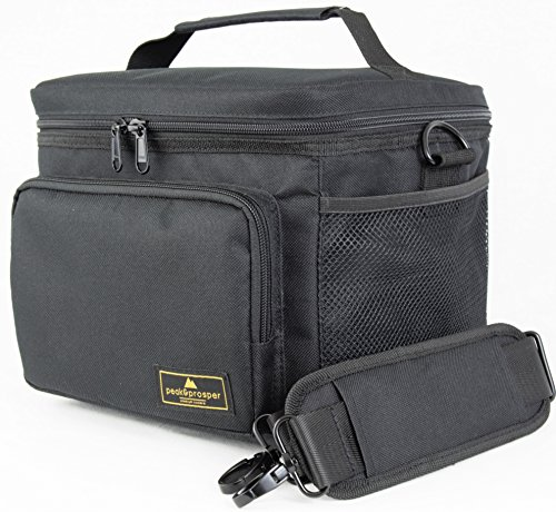 Premium Lunch Cooler Box, Medium Black Insulated Lunch Bag. Water Resistant and Heavy Duty. Perfect For Adults, Men, Women and Teens - Peak and Prosper (black) (Insulated Lunch Bag Black compare prices)