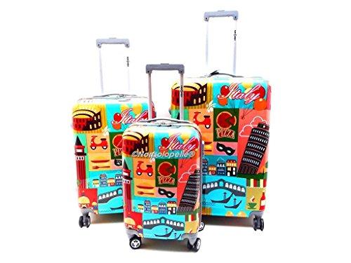 Set Tre Trolley ABS Rigido LUCIDO ITALIA 8 ruote con Trolley Bagaglio a Mano cabina idoneo IATA ALITALIA,Multicolor