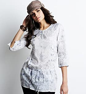 Perfect Pure Cotton 3/4 Sleeve Floral Print Longline Top - Marks & Spencer :  women longline top marks spencer floral print