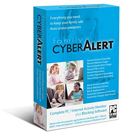 Family Cyber Alert (Version 4.54 CD+download): Parental Control & Keylogger & Internet Monitoring & Computer Monitoring & PC Monitoring & Chat Monitoring & Online Monitoring & Web Filter & Keystroke Logger & Key Logger & Prevent Cyber Bulleying & Time Control. The latest version from the maker of the software with free future updates and premium technical support. Works with Windows 7/Vista/XP