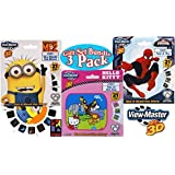 """Basic Fun View-Master Classic 3D Adventures 3 Reel Refills """"Despicable Me 2"""" (Minions), """"Hello Kitty"""" & """"Spider-Man"""" Family Gift Set Bundle - 3 Pack"""