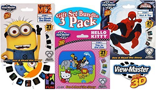 Basic-Fun-View-Master-Classic-3D-Adventures-3-Reel-Refills-Despicable-Me-2-Minions-Hello-Kitty-Spider-Man-Family-Gift-Set-Bundle-3-Pack