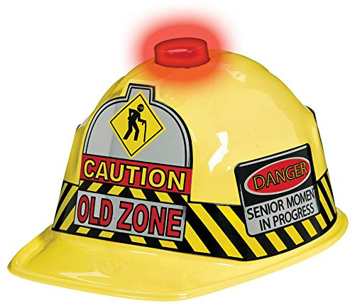 "Amscan Sleek Bright Safety Hat with Fun Print, Yellow, 5 1/2"" x 8"" x 10 1/2"""