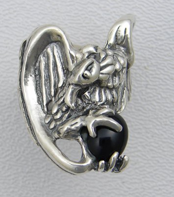 A Magnificent Vulture Sterling Silver Ring Accented with Genuine Black Onyx Made in America