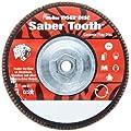 Weiler Saber Tooth High Density Abrasive Flap Disc, Type 27, Threaded Hole, Phenolic Backing, Ceramic Aluminum Oxide