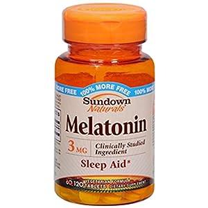 Sundown Naturals Melatonin Nighttime Sleep Aid Tablets, 3 mg, 60-Count Bottles (Pack of 3)