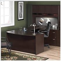 Big Sale Bush Furniture Corsa Series Home Office Right-Facing U-Shape Computer Desk Set in Mocha Cherry Finish