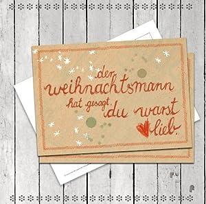 10 Stück Weihnachtskarten: Der Weihnachtsmann hat gesagt, du warst lieb, SET Postkarten für Weihnachten, Weihnachtspostkarten
