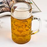 Libbey Borgonovo Oktoberfest Glass Masskrug 42 Ounce Dimpled Glass Beer Stein Mug