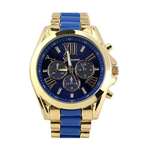 Bessky(TM) 2015 Fashion Classic Luxury Men Stainless Steel Quartz Analog Wrist Watch(Blue)