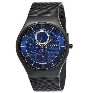 Skagen Men's 806XLTBN Denmark Black Mesh Blue Dial Watch