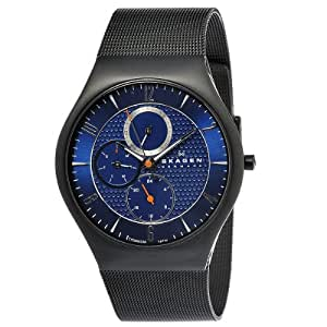 Skagen Men's 806XLTBN Denmark Black Mesh Blue Dial Watch