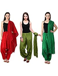 Fashion Store Combo Of Womens Solid Cotton Red ,Green & Dark Green Best Ethnic Comfort Punjabi Patiala Salwar...