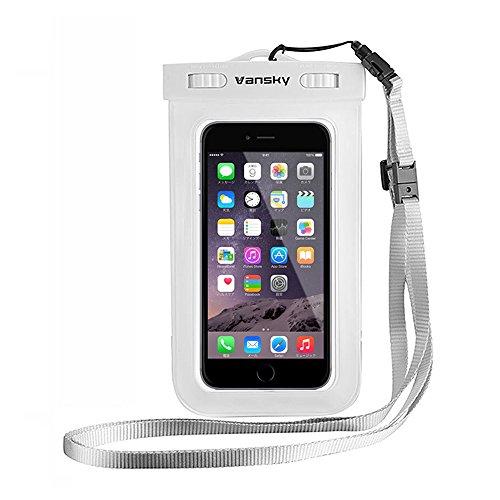 Borsa Impermeabile Cellulare, Vansky® Custodia impermeabile Cellulare Universale, Smartphone Impermeabile Waterproof Custodia, Case impermeabile per iPhone 6s/ 6s plus/ 6/ 6 plus/ 5s/ 5c/ 5, Samsung s6/ s6 edge/ s5/ s4, ed altri Smartphone, ecc; Toccare Responsive trasparente di Windows; Durable Waterproof Bag, ecologico TPU costruzione e IPX8 certificato a 100 Feet (Bianco)