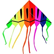 Hengda Kite 68 Inch Easy Flyer With String And Handle, Classic Delta Kite, Brilliant Colors In The Sky